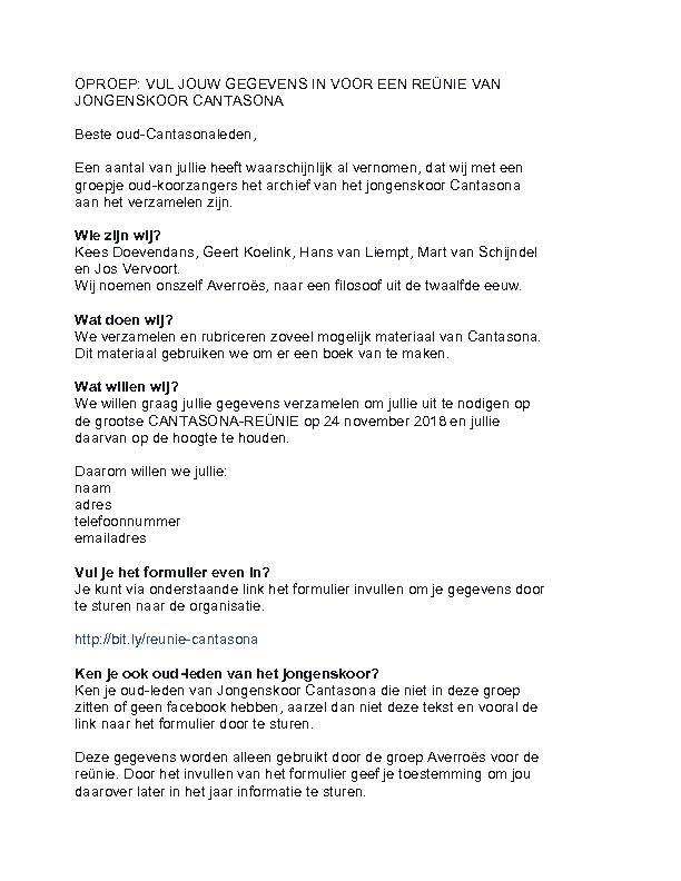 2018 Oproep reunie Cantasona