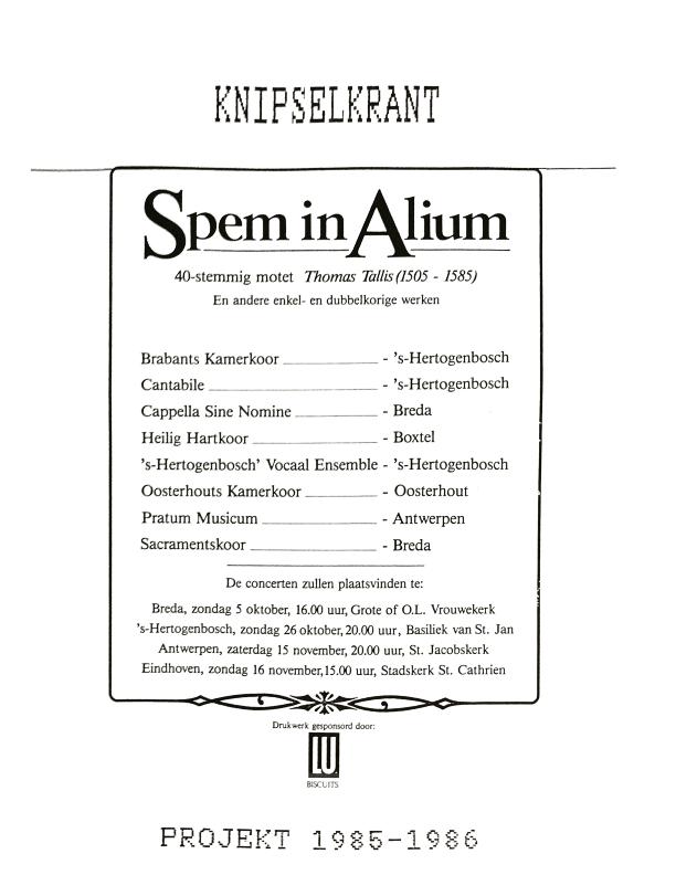 1986 Spem in Alium knipselkrant