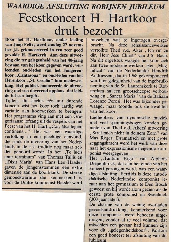 1983 40-jarig jubileum Recensie afsluitconceert