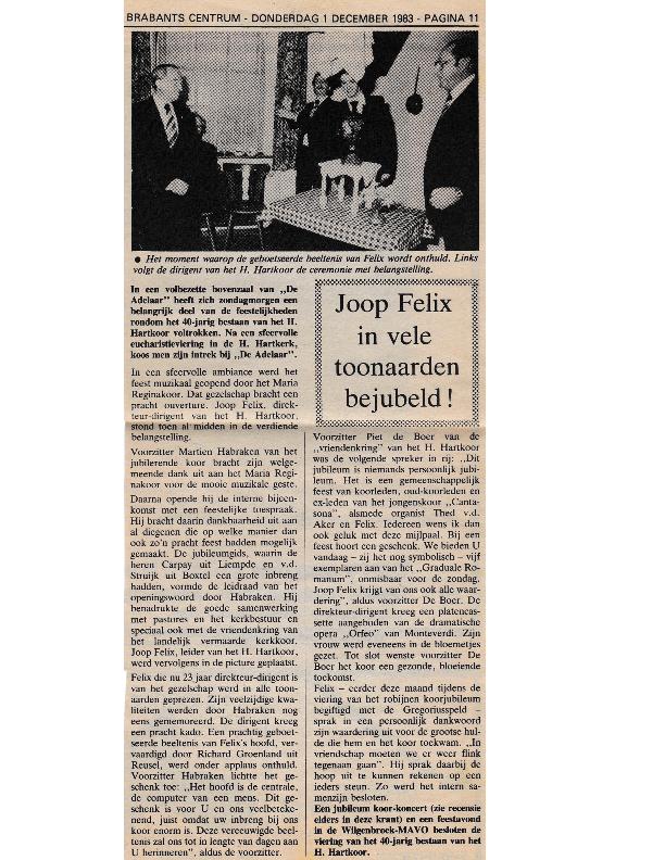 1983 40-jarig jubileum krantenknipsel Brabants Centrum