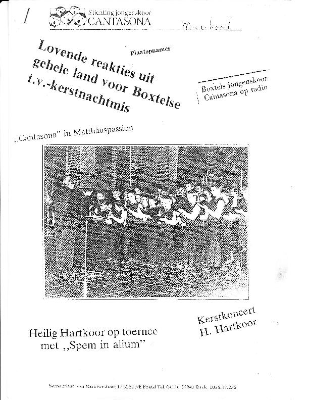 1990 Stichting jongenskoor Cantasona – krantenknipsels