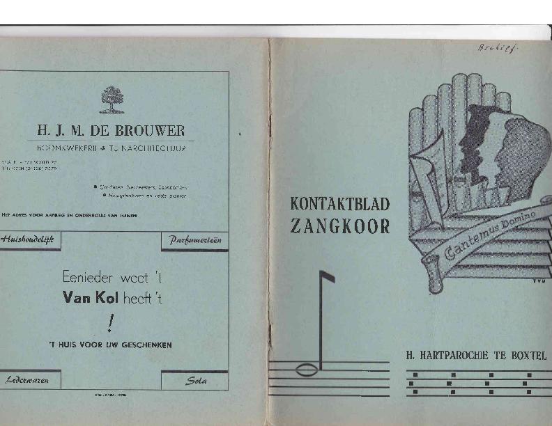 1964 Kontaktblad Zangkoor; jg.1-5 1963