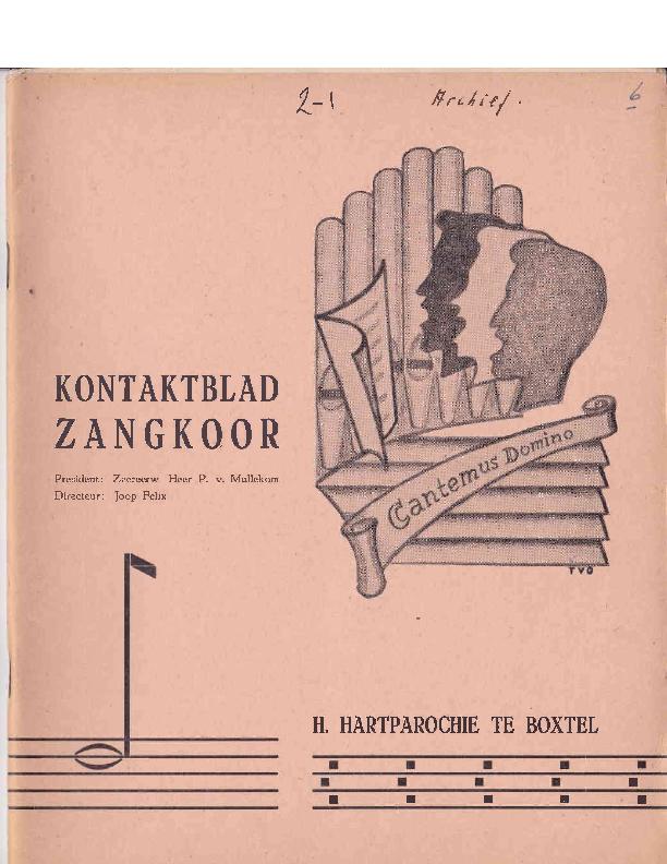 1964 Kontaktblad Zangkoor;jg.2-1 1964