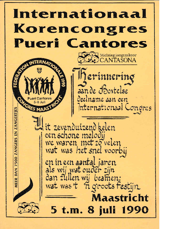 1990 Internationaal Korencongres Pueri Cantores – Herinnering