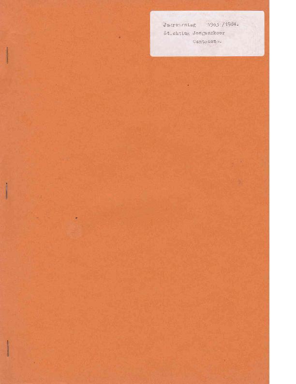 1984 Jaarverslag 1983-1984 Stichting Jongenskoor Cantasona