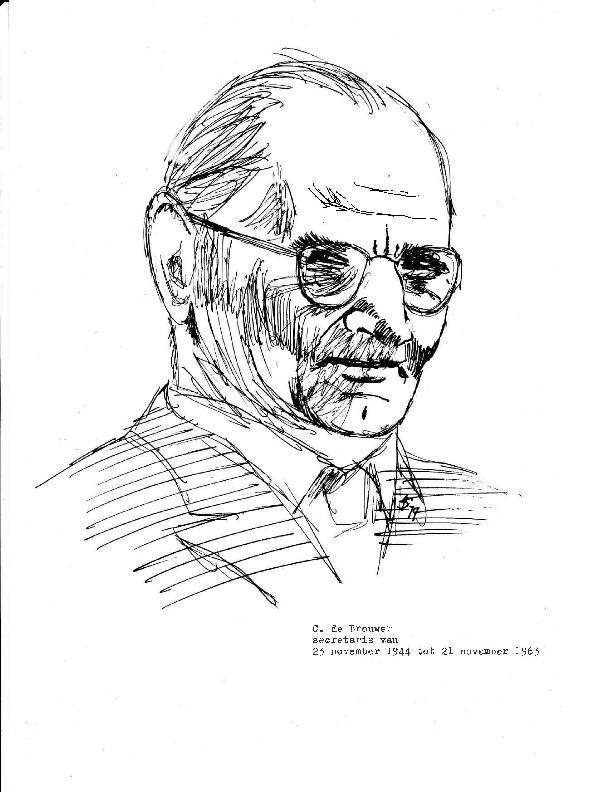1975 Portrettekeningen van 5 secretarissen