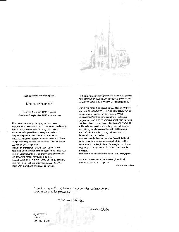 2005 Bidprentje en dankkaart Martien Habraken