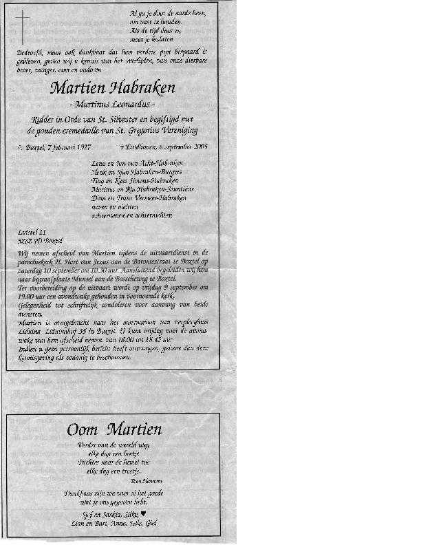 2005 Rouwadvertenties Martien Habraken