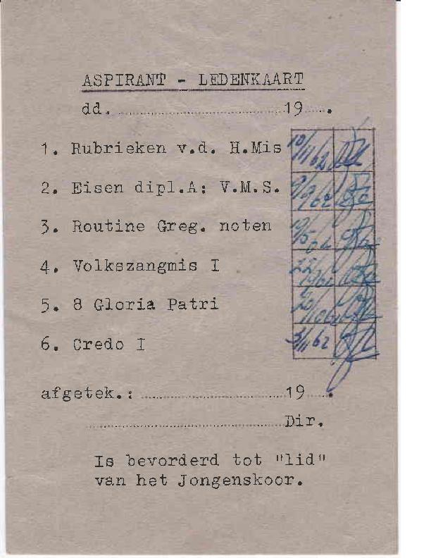 1962 Aspirant – Ledenkaart grijs 1962