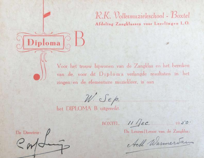 1950 diploma's Zangklassen Volksmuziekschool