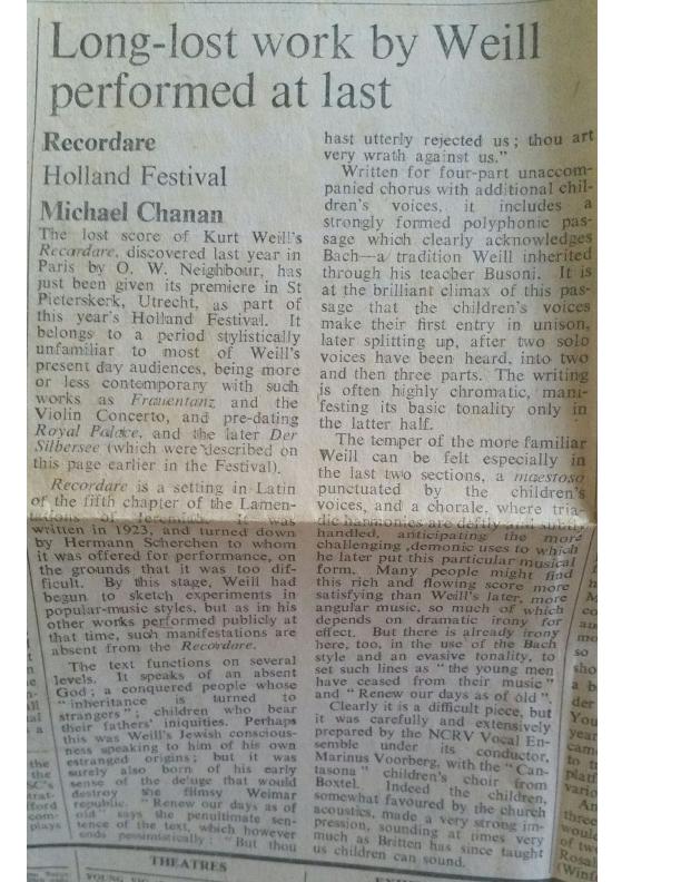 1971 Times Recensie Recordare Krantenknipsel