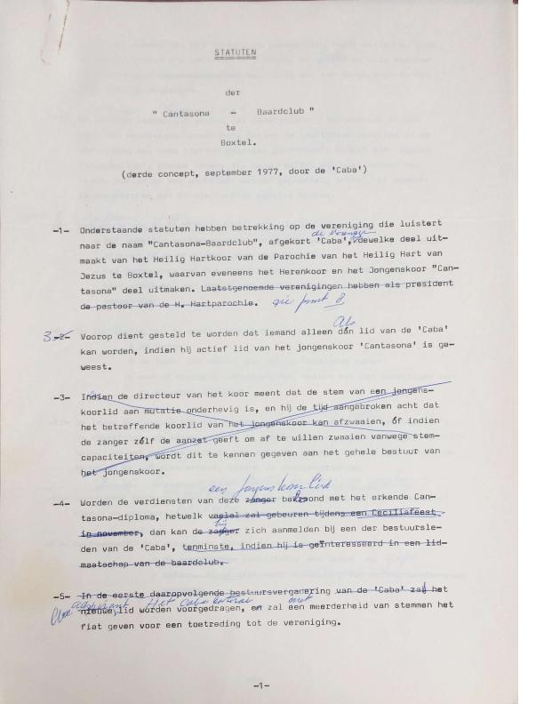 1977 wijziging statuten CABA met aantekeningen