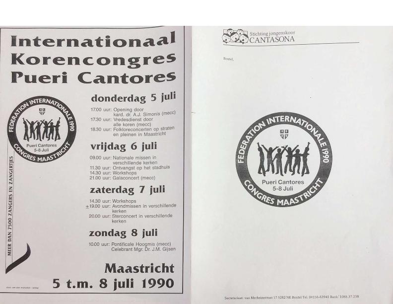 1990 PR map Stichting Jongenskoor Cantasona Pueri Cantores Congres
