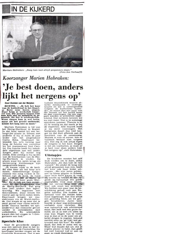 1989 In de kijkerd – Martien Habraken Brabants Dablad jan 1989