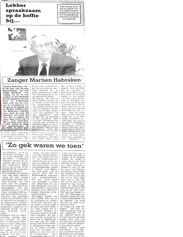 1998 Lekker spraakzaam op de koffie bij…. Martien Habraken BC mei 1998