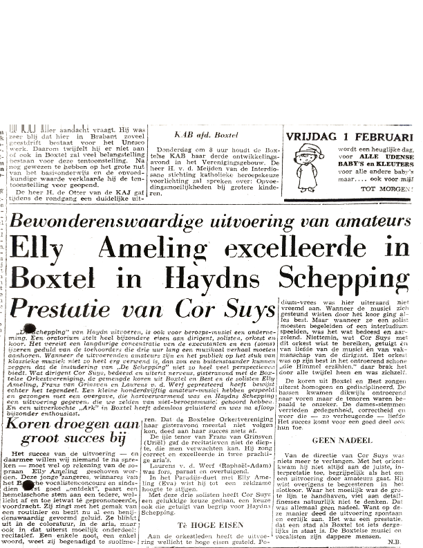 1957 Elly Ameling en Cor Suijs in Haydns Schepping – krantenartikel