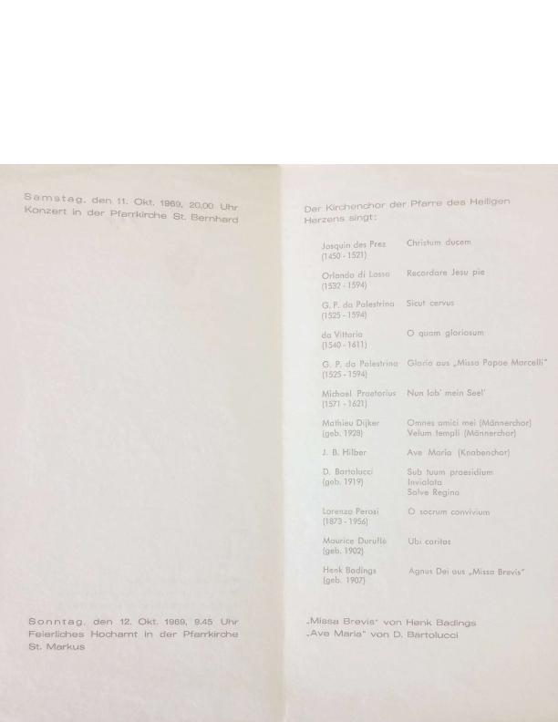 1969 Programmaboekje Concert en Hoogmis Wittlich