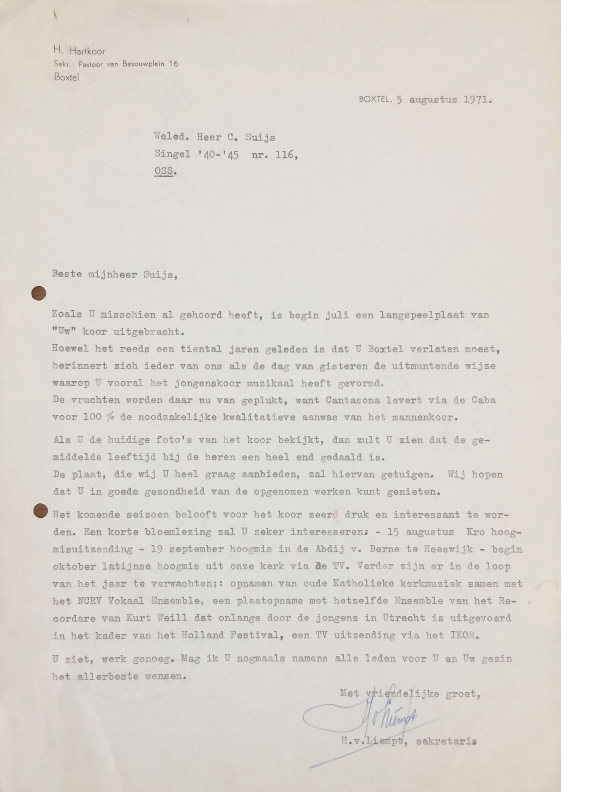 1971 brief Hans van Liempt aan Cor Suijs en reactie Cor Suijs