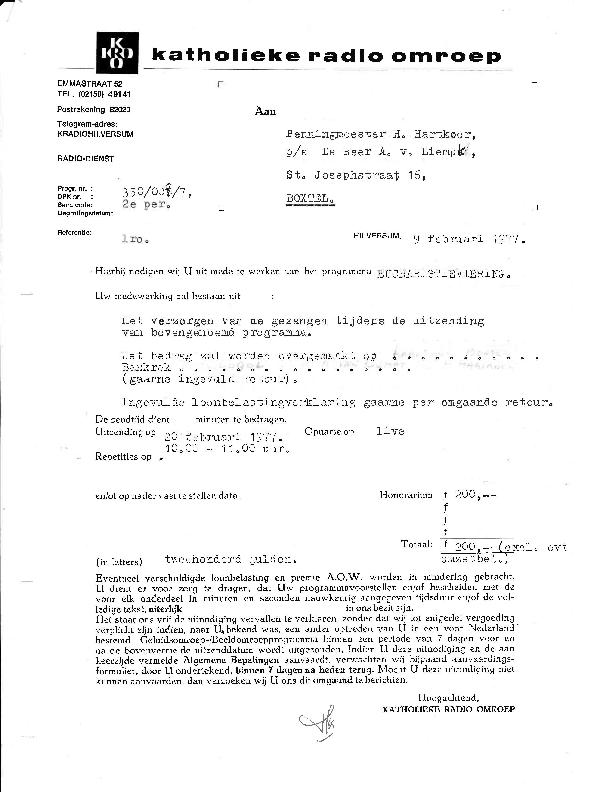 1977 Bevestiging KRO tv-uitzending