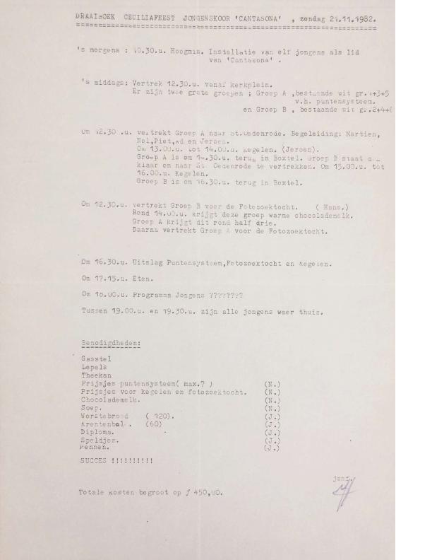 1982 draaiboek Ceciliafeest 21-11-1982