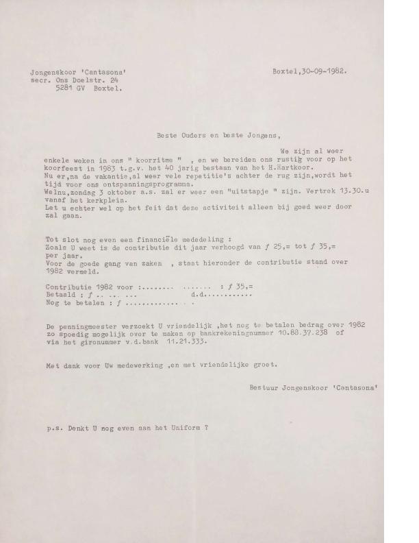 1983 brief penningmeester naar ouders