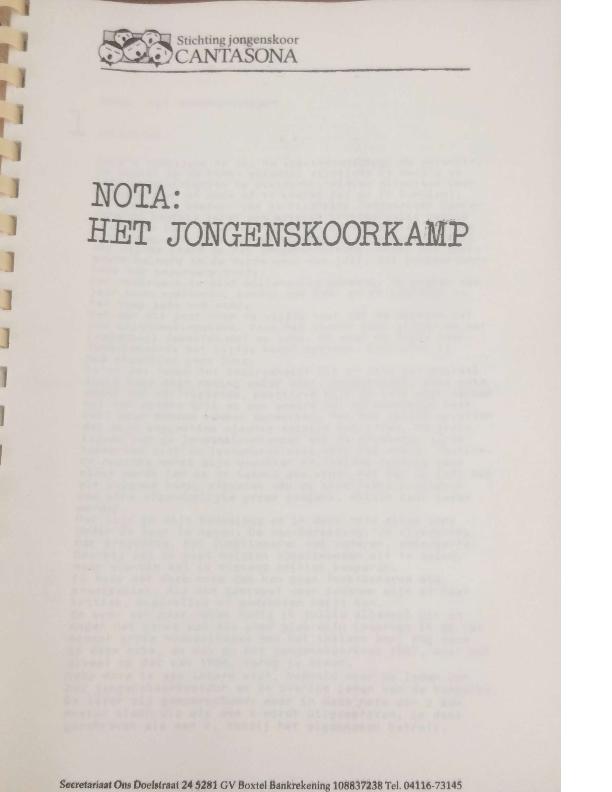 1987 Nota: het jongenskoorkamp