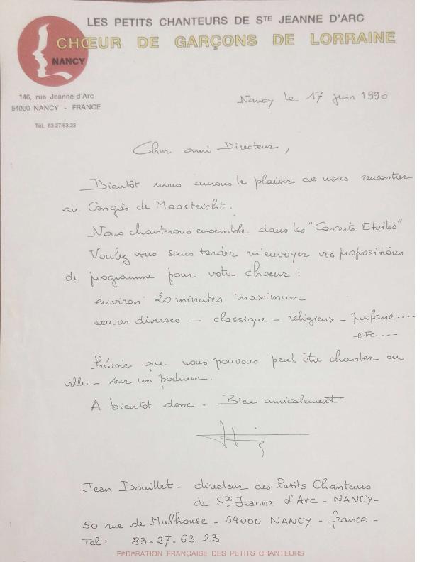 1990 brief frans jongenskoor voor pueri congres