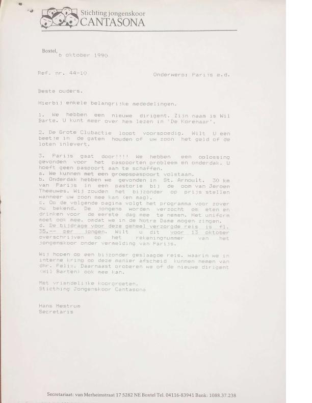 1990 brief secretaris ivm Parijs en Wil Barten
