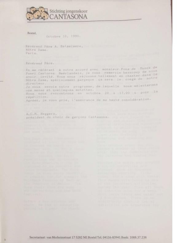 1990 brief voorzitter aan Notre Dame Parijs