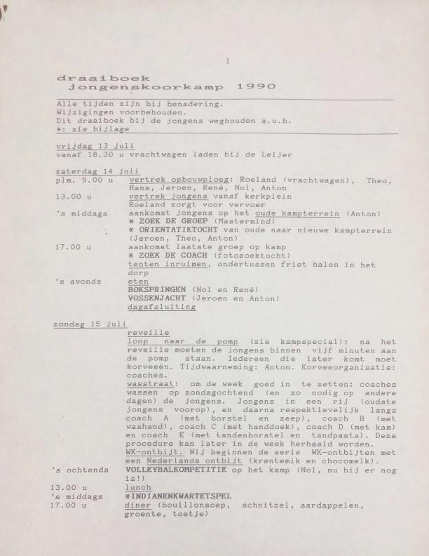 1990 draaiboek jongenskoorkamp
