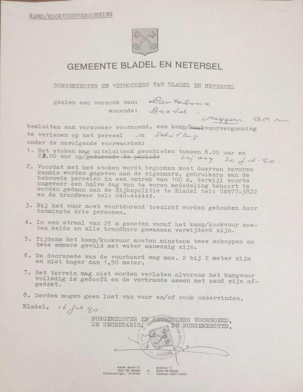 1990 kampvuur vergunning