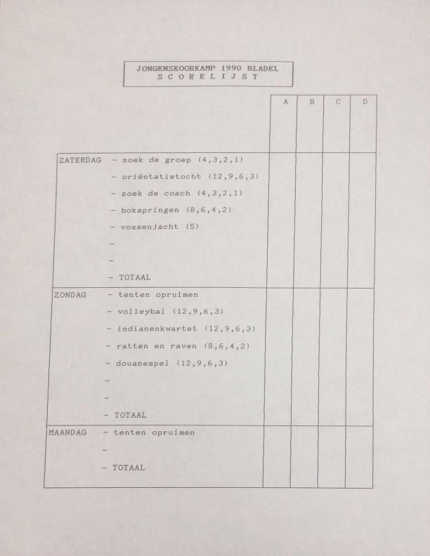 1990 scorelijst jongenskoorkamp