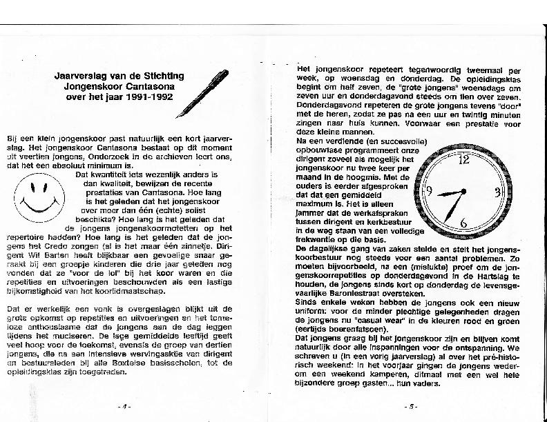 1992 Jaarverstalg Stiching Jongenskoor Cantasona 1991-1992