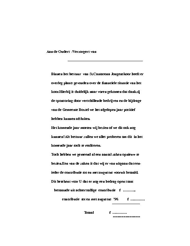 1998 contributie Aan de Ouders