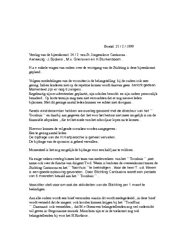 1999 Notulen 24-02 Stoppen Stichting Jongenskoor Cantasona