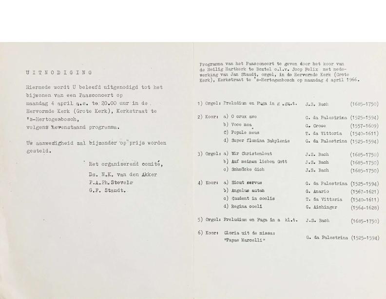 1966 Programma Paasconcert Hervormde Kerk den Bosch 4 april