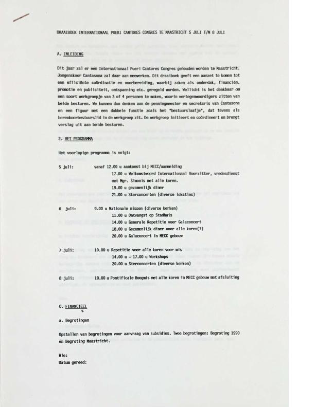 1990 draaiboek Internationaal Pueri Cantores Congres Maastricht