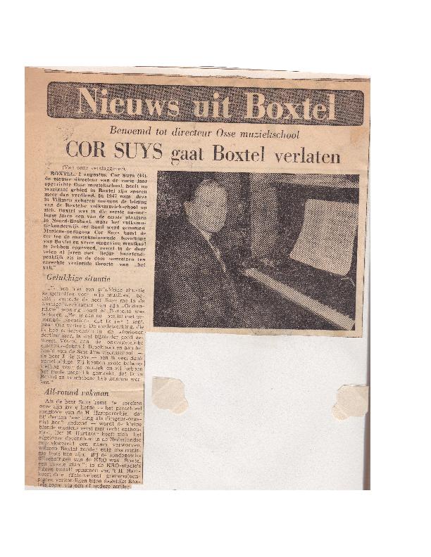 1960 Cor Suijs gaat Boxtel verlaten