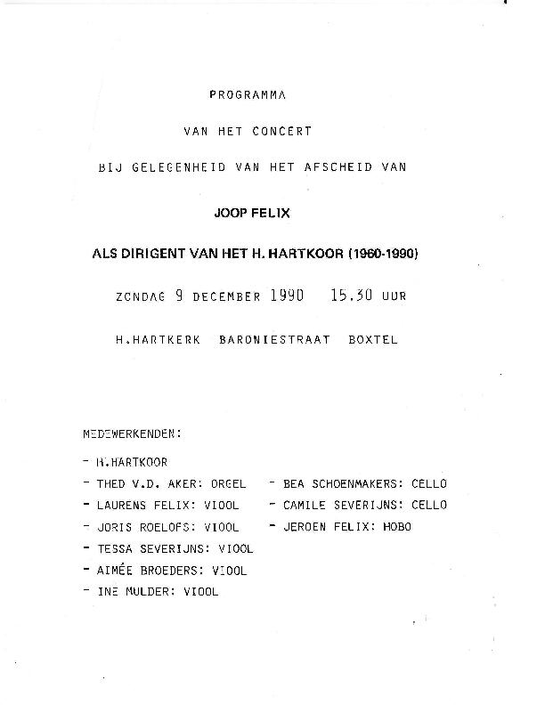 1990 Programma van het concert bgv Afscheid Joop Felix
