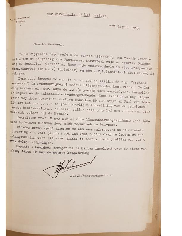1953 jeugdclub Cantasona – brief kapelaan Vorstermans aan het bestuur