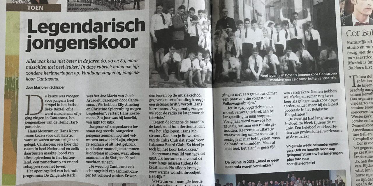 Cantasona in de Telegraaf!