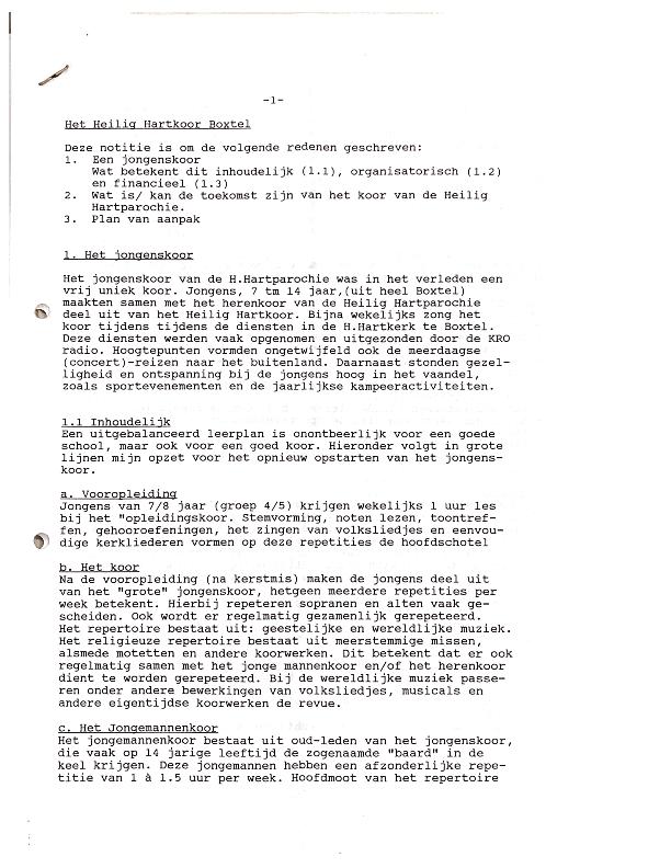 1996 Plan van Aanpak nieuwe koor door dirigent