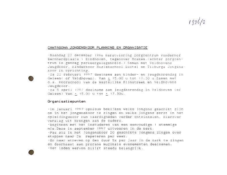 1996 Planning en organisatie