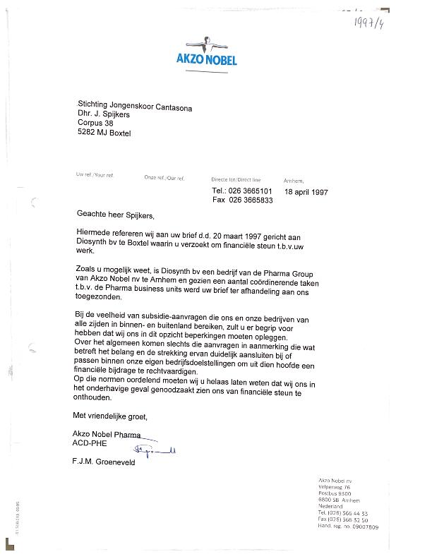 1997 Afwijzing donatie Akzo Nobel