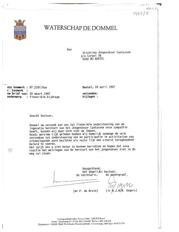1997 Afwijzing donatie Waterschap de Dommel