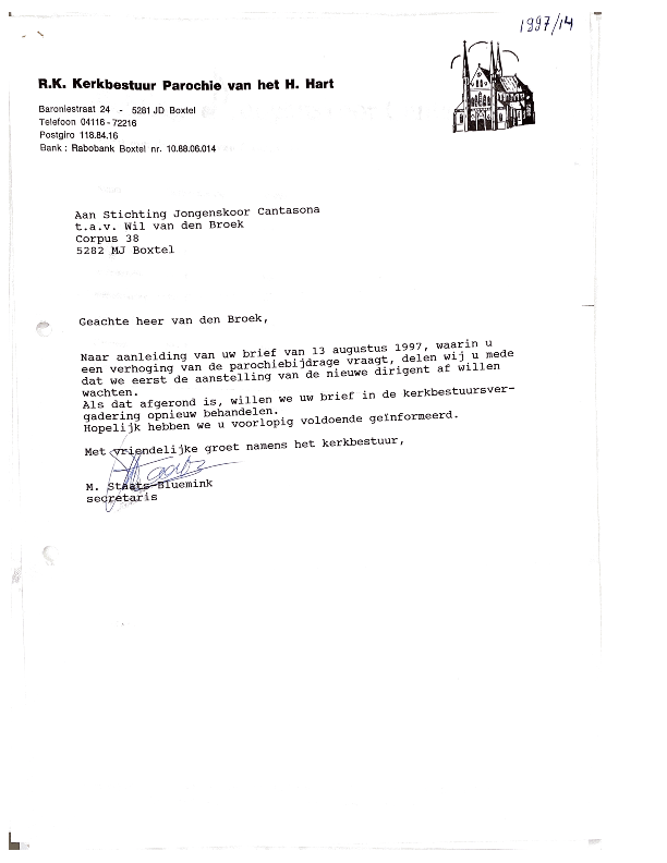 1997 Brief Kerkbestuur mbt parochiebijdrage