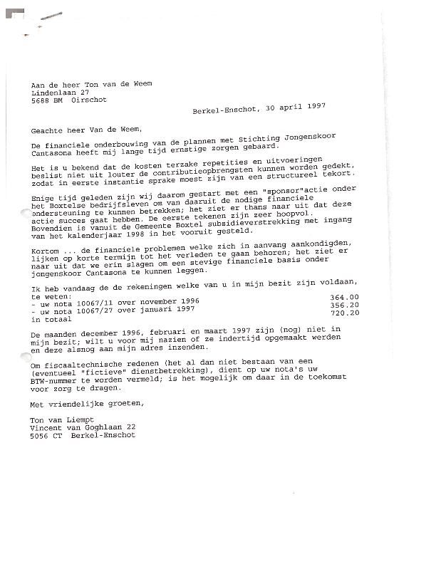 1997 Brief Ton van Liempt aan dirigent Ton van Weem