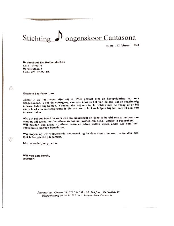 1998 Brief basisschool werving