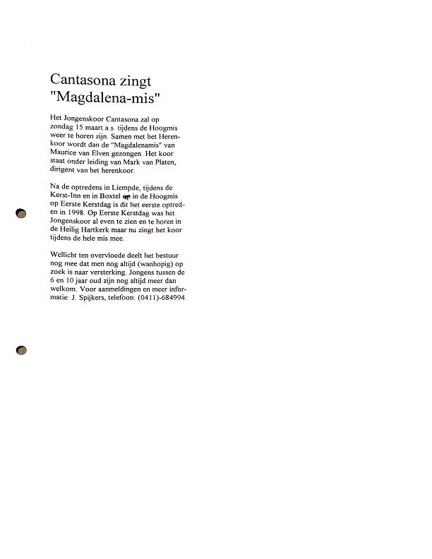 1998 Cantasona zingt Magdalena-mis krantenartikel