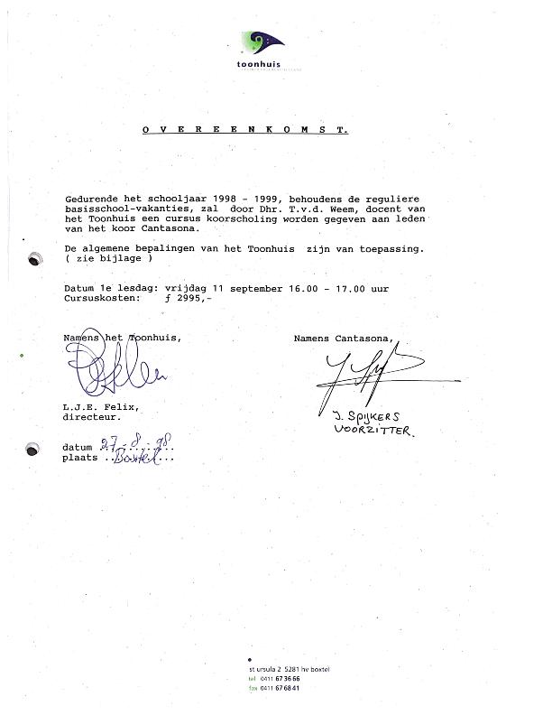 1998 Overeenkomst Toonhuis en Cantasona mbt dirigent